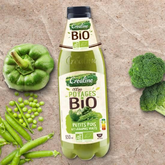 Soupe bio petits pois et légumes verts : recette de soupe Bio par Créaline