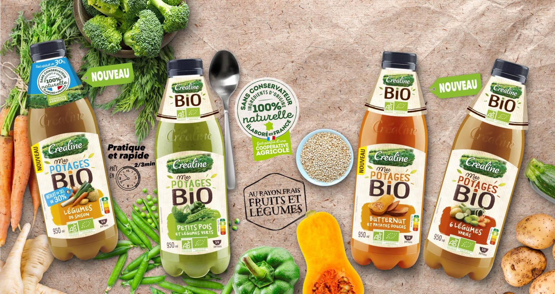 Veloutés de légumes bio : petits pois et légumes verts, légumes de saison, butternut et patates douces