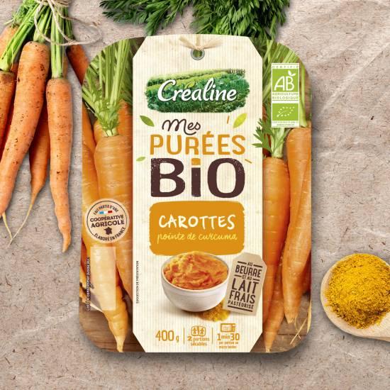 Purée de carottes Bio et pointe de curcuma : purée bio Créaline