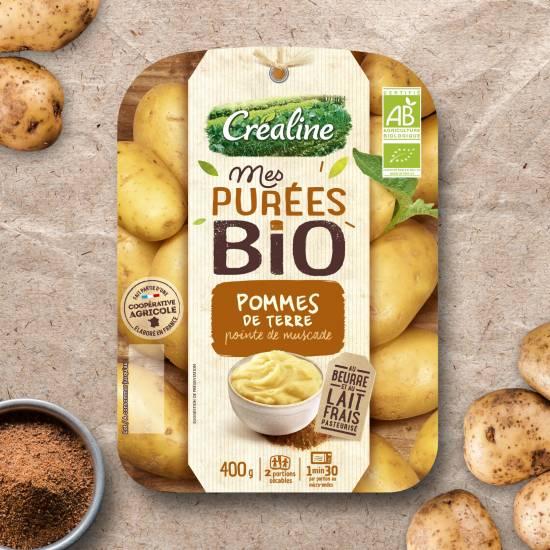 Purée de pommes de terre bio et pointe de muscade : purée Créaline au rayon frais