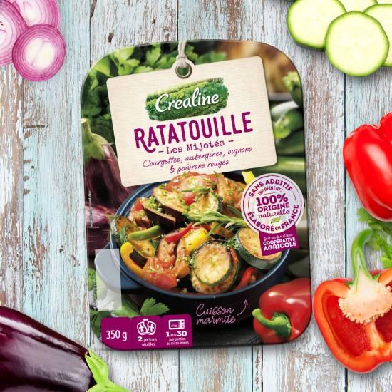 Recette de ratatouille : courgettes, aubergines, oignons, et poivrons rouges. Une recette Créaline
