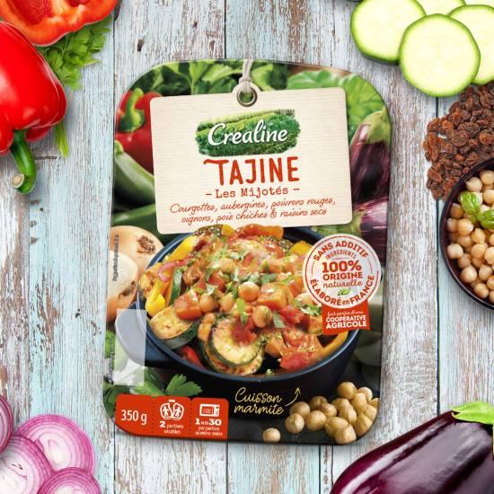 Recette de Tajine : courgettes, aubergines, poivrons rouges, oignons, pois chiches et raisins secs