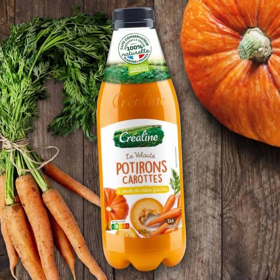 Velouté potirons carottes et sa pointe de crème fraîche : une soupe potiron carottes Créaline