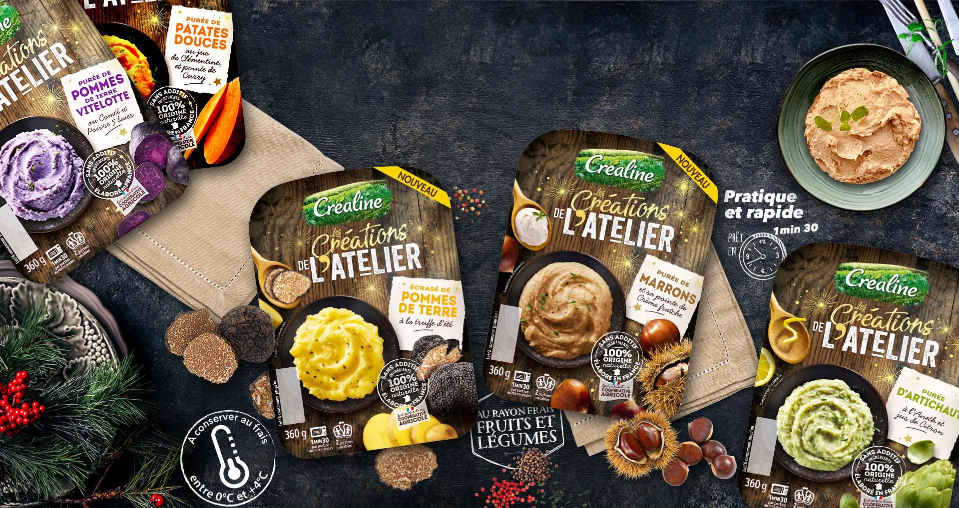 Purées festives Créaline : écrasé de pommes de terre à la truffe, purée de marrons, purée d'artichaut