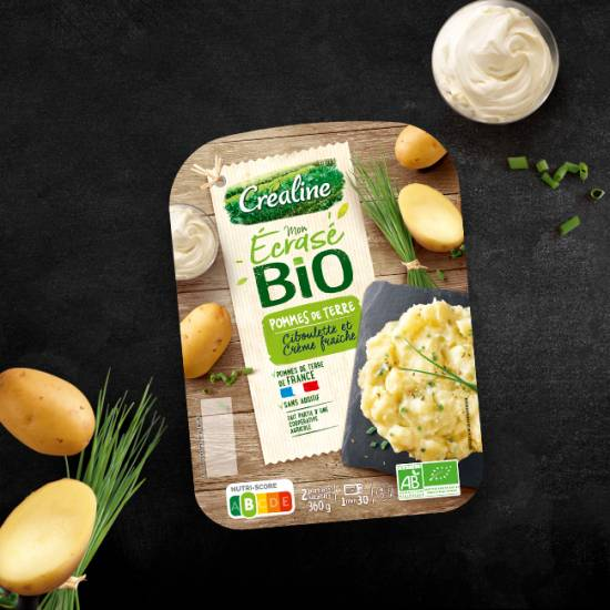 Ecrasé de pommes de terre ciboulette et crème fraîche Créaline Origine France et Rayon Frais